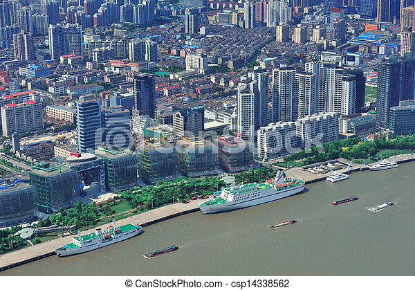 Shanghai aerial in the day - csp14338562