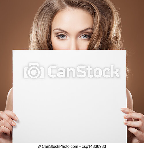Fashion Woman Holding Empty Billboard In Hands - csp14338933