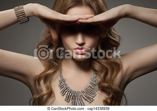 Fashion Portrait Of Beautiful Luxury Woman With Jewelry - csp14338939