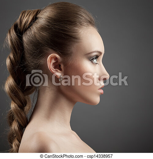 Beautiful Woman Portrait. Long Brown Hair - csp14338957