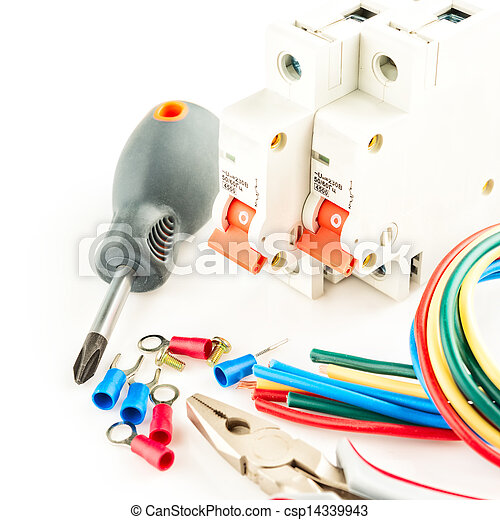 electric tools on white background - csp14339943