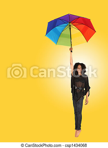 African Woman Falling While Holding an Umbrella