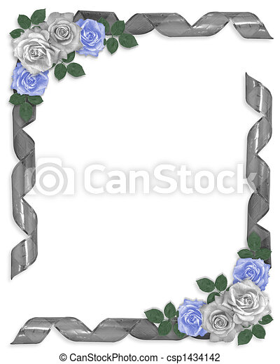 Stock Illustration Wedding Border Blue roses ribbons