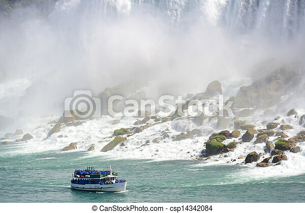 Niagara Falls with boat - csp14342084