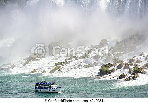 Niagara Falls with boat - csp14342084