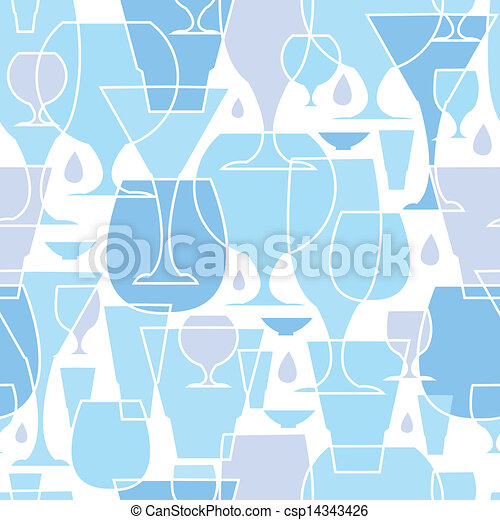 Water glasses line art seamless pattern background - csp14343426