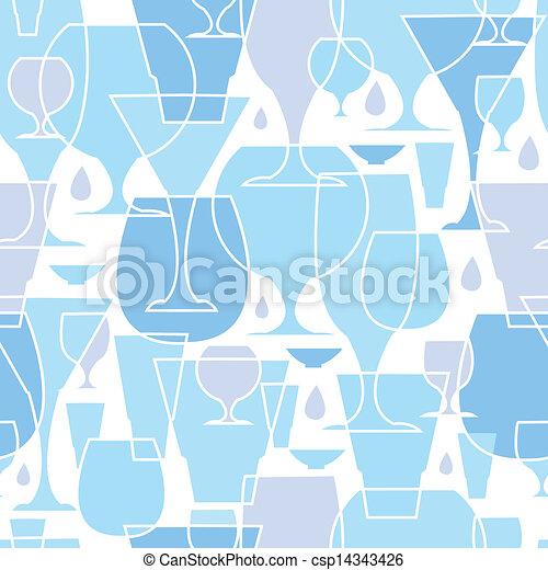 Water glasses line art seamless pattern background - csp14343426