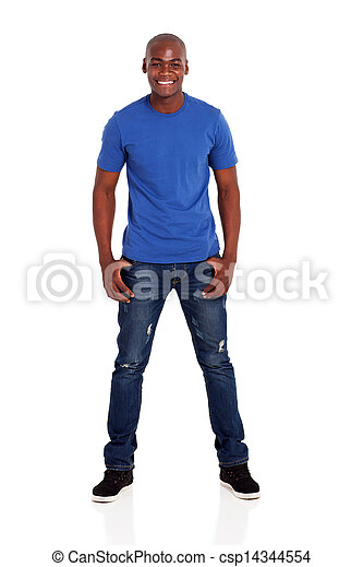 portrait of casual young african man - csp14344554