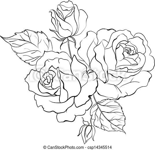 Clip art vecteur de bouquet roses bouquet de roses for How to draw a black and white rose