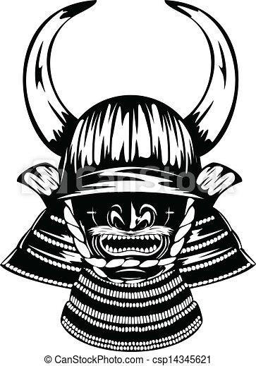ilustraciones de vectores de yodare kake casco menpo cuernos samurai vector. Black Bedroom Furniture Sets. Home Design Ideas