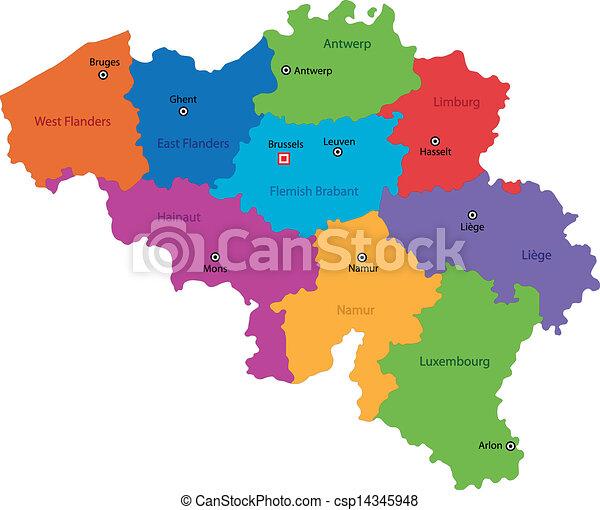 eps vektor von belgien landkarte bunte belgien