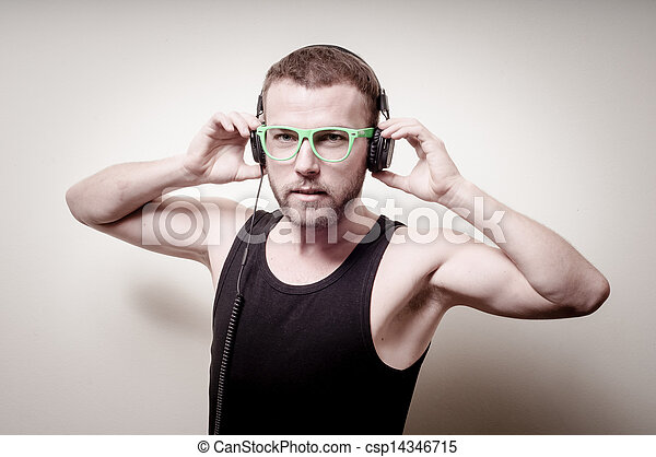 hipster stylish fashion blonde man with headphones - csp14346715