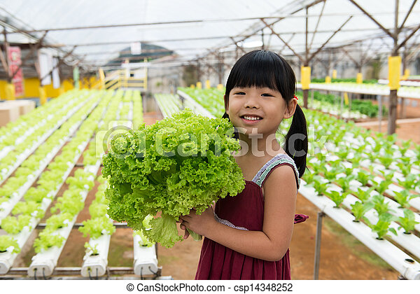 Child holding vegetable - csp14348252