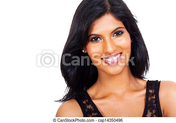 happy indian woman close up - csp14350496