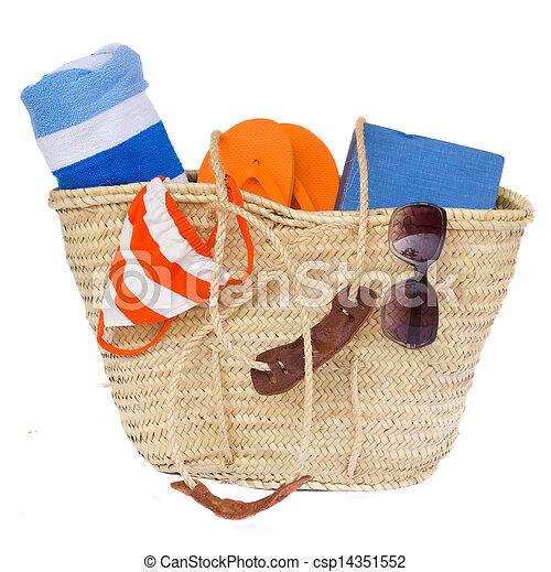 sunbathing accessories in basket - csp14351552