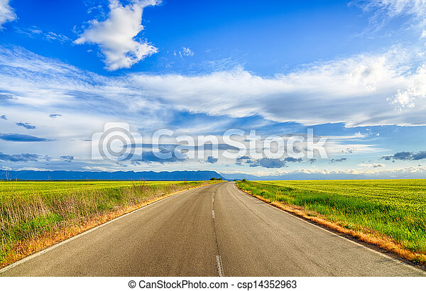 Beautiful landscape field of wheat, road, clouds and mountains. HDR image - csp14352963