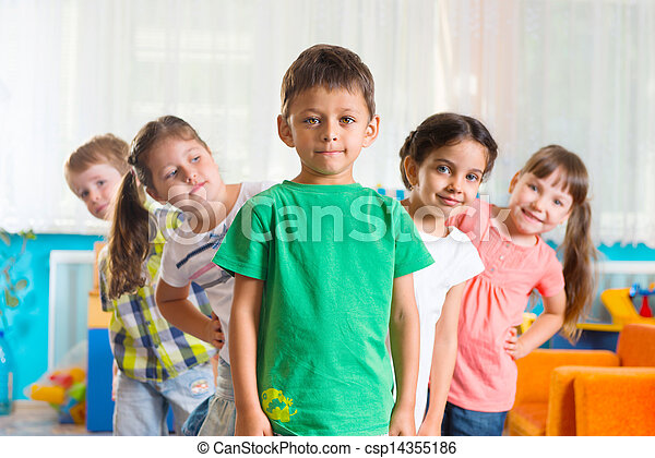 Group of five preschoolers