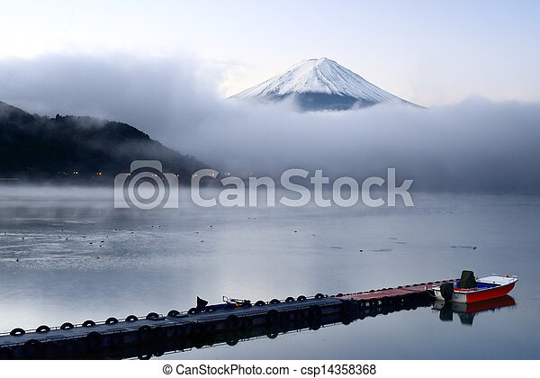 Mt. Fuji and Lake Kawaguchi - csp14358368