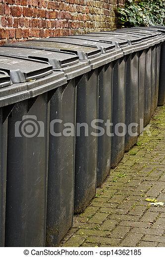 Row of residential wheelie bins - csp14362185