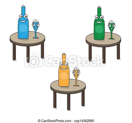 Vecteurs eps de rigolote sourire table bouteille verre for Position des verres sur une table