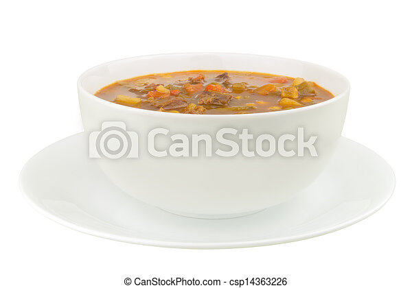 A Bowl of Vegetable Beef Soup on a White Background - csp14363226