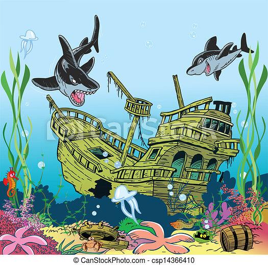 Ocean Floor Drawing Ship Lies on The Ocean Floor
