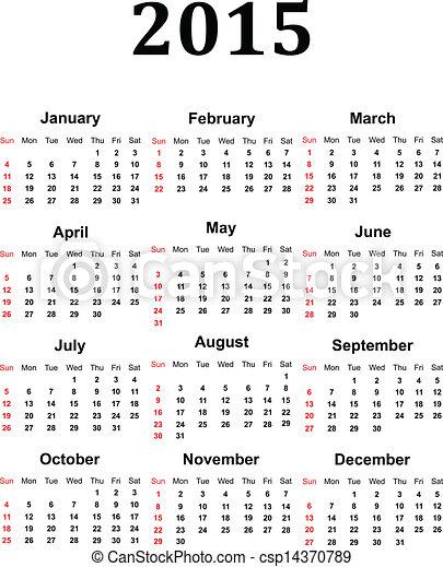 Vector - Calendar 2015 - stock illustration, royalty free illustrations, stock clip art icon, stock clipart icons...