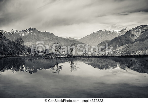 Trees and mountains reflection in still lake - csp14372823