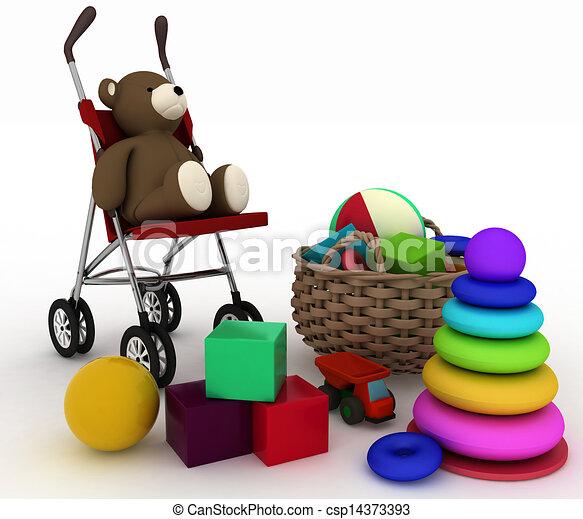 child's toys and pram - csp14373393