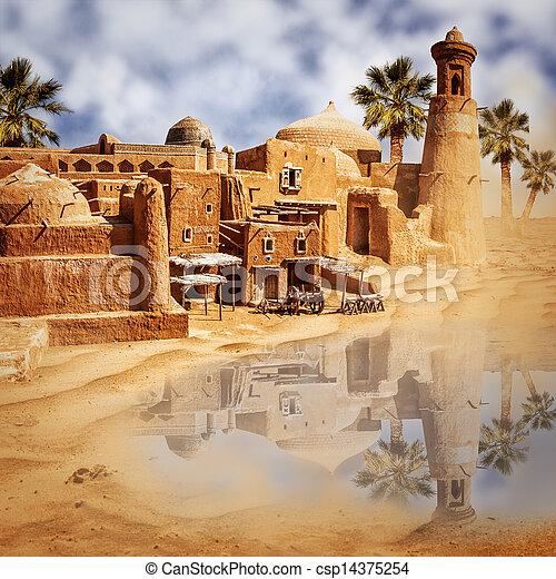 Old fantasy city and lake in the desert - csp14375254