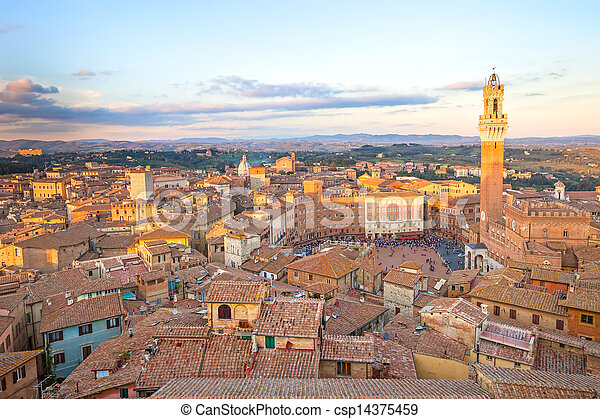 Siena sunset panoramic skyline. Mangia tower landmark. Tuscany - csp14375459