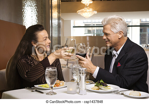 Couple on dinner date. - csp1437848