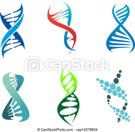 Vector Clipart of DNA and molecules - DNA and molecule symbols set ...