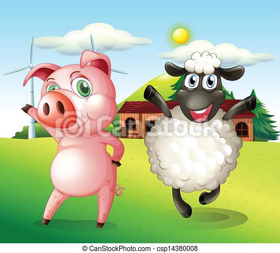 猪拿着风车头像