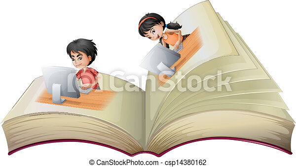 An open book with a girl and a boy with computers - csp14380162