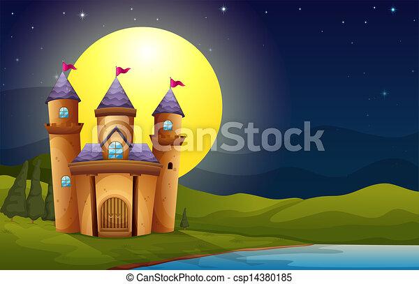 Castle Scenery Drawing a Castle in a Full Moon