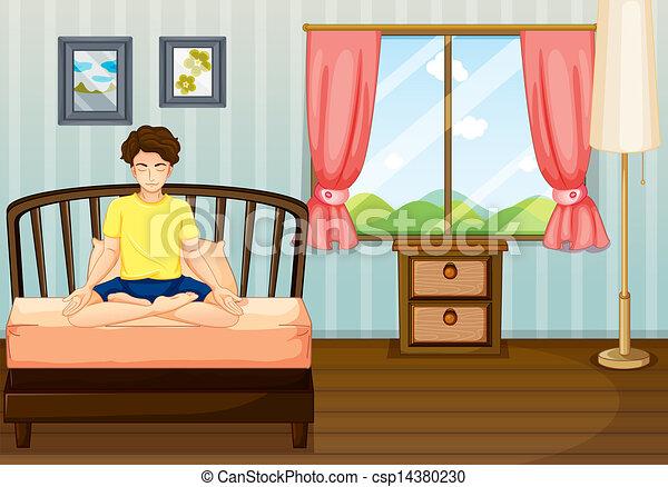 Vector van een man gedresseerd yoga binnen zijn kamer csp14380230 zoek naar clip - Upgrade naar een kamer ...