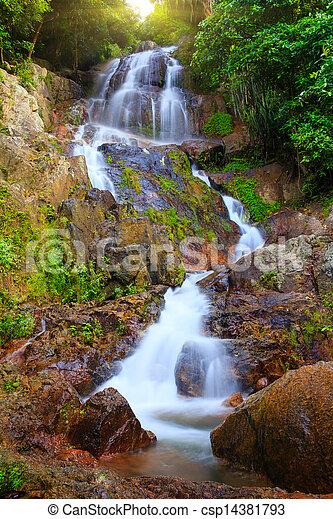 Waterfall in tropical jungle, Na Muang, Koh Samui - csp14381793
