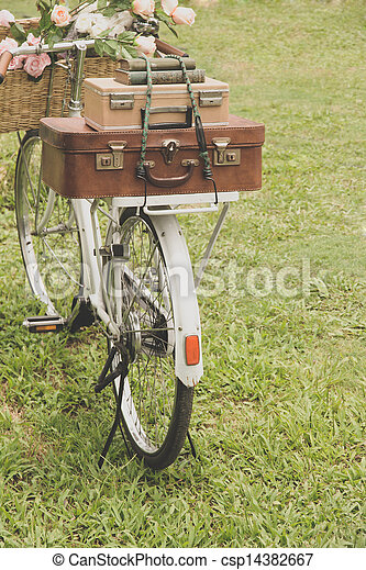 Vintage bicycle on the field  - csp14382667