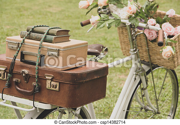 Vintage bicycle on the field  - csp14382714