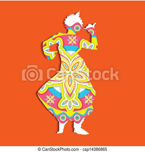 Clip Art Vector of Indian classical Dancer - illustration ...