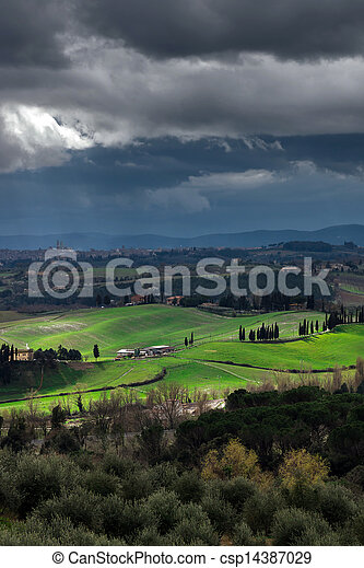 Stormy weather landscape with beautiful light, Tuscany, Italy
