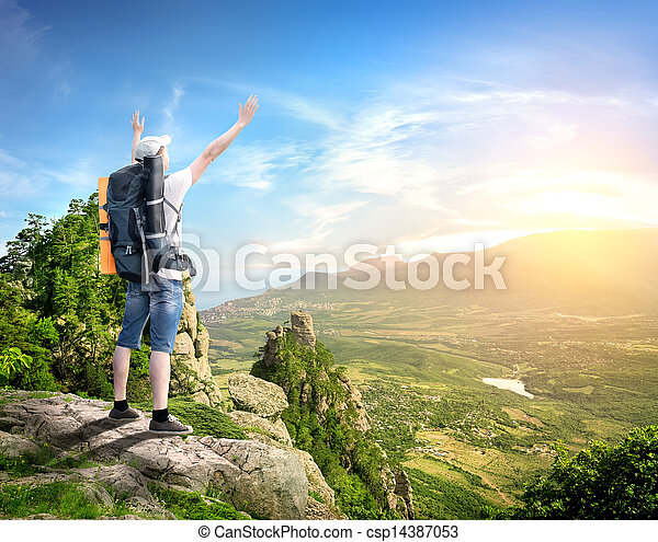 Tourist with in mountains - csp14387053