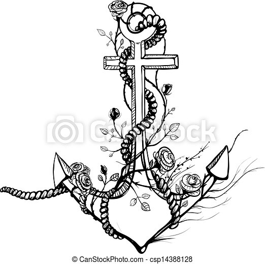 Romantic Old Anchor with Roses Vintage Anchor Drawing