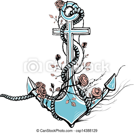 Vector Illustration Of Romantic Old Anchor With Roses