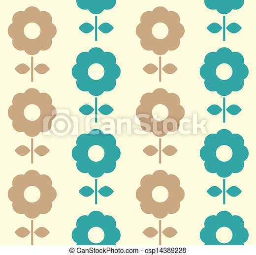Vector Illustration of Retro flowers seamless background ( blue ...