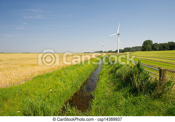 Wind Turbines in agriculture landscape - csp14389937