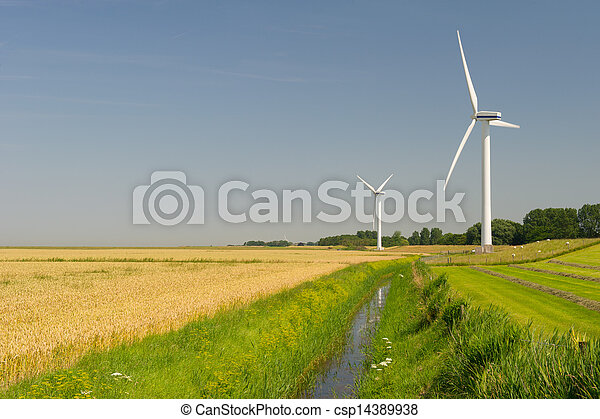 Wind Turbines in agriculture landscape - csp14389938
