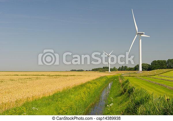 Wind Turbines in agriculture landscape - csp14389938
