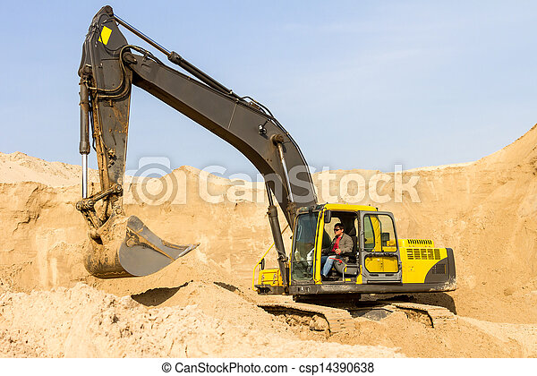 Yellow Excavator at Construction Site - csp14390638